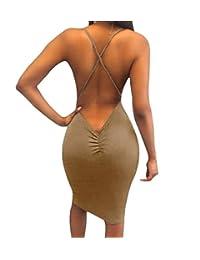 Haokan Sexybaby Femmes Cocktail Midi Bodycon Dos Nu Soirée Robes De Soirée 2a20c066566