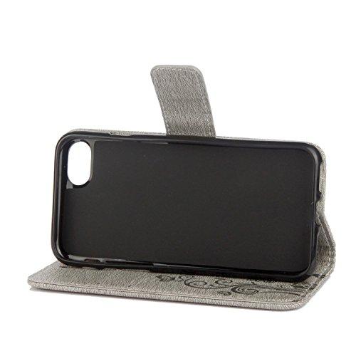 Custodia iPhone 6 Plus, Custodia iPhone 6S Plus, Cover iPhone 6 Plus/iPhone 6S Plus, ikasus® iPhone 6 Plus/iPhone 6S Plus Colorato verniciato Custodia Cover [PU Leather] [Shock-Absorption] Goffratura  Grigio