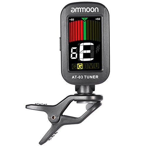 ammoon AT-03 Clip-on E-Tuner Farb LCD Bildschirm 360 ° rotierbar für Gitarre Bass Geige Chromatische Ukulele Universal Exquisite Tragbare
