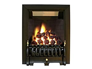 Ekofires 3030 Living Flame Gas Fire Black 'Blenhiem' Full Depth Gas Fire