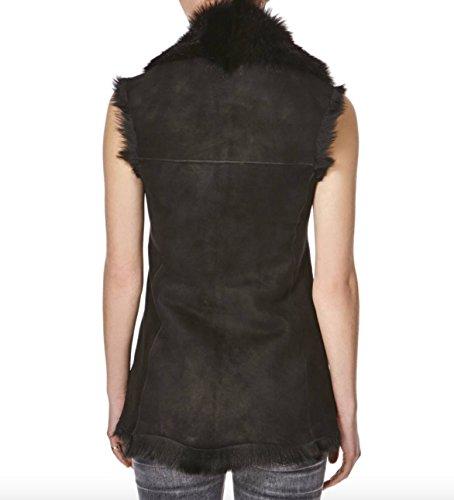 Donna camoscio e pelle di pecora lunghezza anca cascata gilet / gilet. (Scalda senza maniche) Suede nera con pelle di pecora nera