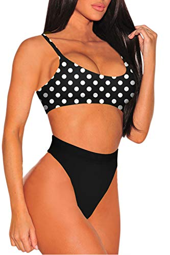 Viottiset Damen Bikini Set High Waist Badeanzug mit Verstellbar Träger - 2