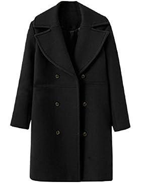 Las mujeres largo Parka lana Capote, mamum mujeres Fashion Loose invierno cálido manga larga botón chaqueta de...