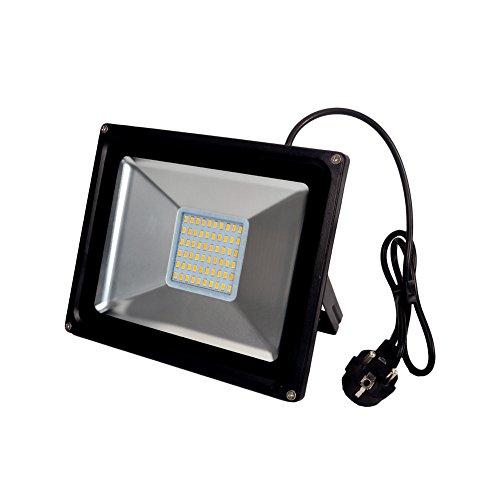 Molie Led Strahler mit Stecker 50W 100W Warmweiß mit Schwarz-Alu. Fluter Scheinwerfer Licht Flutlicht 220V Flutbeleuchtung Wandstrahler Wasserdicht IP65(50W)