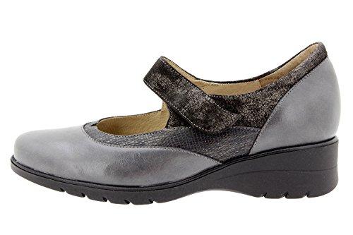 Scarpe donna comfort pelle PieSanto 9957 Mary Jean casual comfort larghezza speciale Gris
