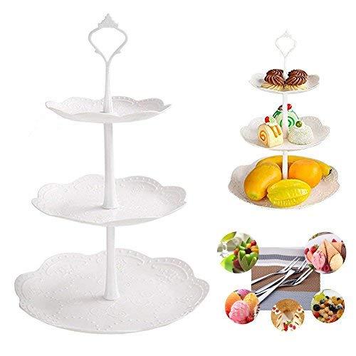 Tablett-Platten aus Kunststoff, Obstteller, Vorspeisen- oder Dessert-Tortenständer, Tischdekoration, Serviergabeln für Hochzeiten, Teepartys, Urlaubsessen oder Geburtstagspartys - Hochzeit Kunststoff-platten