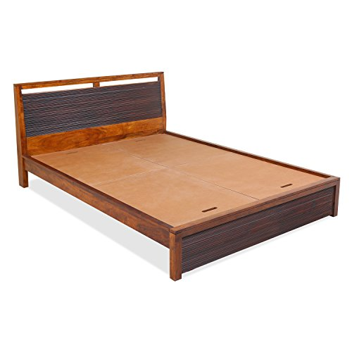 @home by Nilkamal Tiara KB King Size Bed with Storage (Polished Finish, Brown)