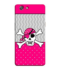 PrintVisa Pink Grey Pirate Cap Pattern 3D Hard Polycarbonate Designer Back Case Cover for Oppo Neo 5 :: Oppo A31 :: Oppo Neo 5S 2015