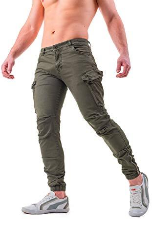 Instinct Pantaloni Cargo Uomo con Tasche Laterali Tasconi Zip Slim Fit W7 (32/46 IT, Verde)