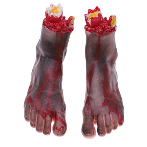Abgetrennter Zombie Fuß - NUOBESTY 1 Paar Halloween gefälschte Fuß