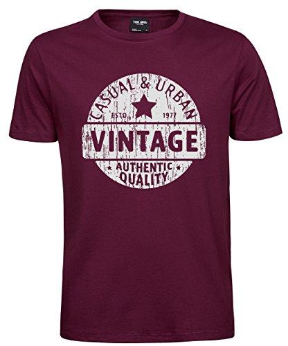makato Herren T-Shirt Luxury Tee Vintage Badge Wine