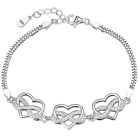 EleQueen 925 Catena argento 925 CZ doppio filo Infinity Figura 8 Amore Bracciale Cuore