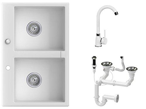 Granitspüle weiß, Armatur 5000 - Hochdruck, 2-Becken, Drehexcenter + Siphon, Spülbecken, Küchenspüle, Schrankbreite ab 80 cm