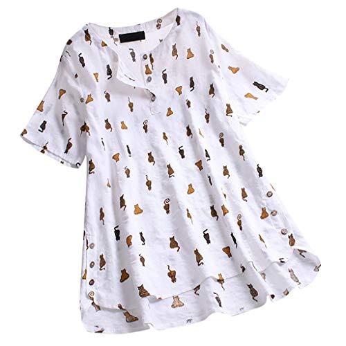 MRULIC T-Shirt Damen Tops Bluse Gedruckt Kurzarm Casual Tunika Oberteile Dreifacher Farbblock Streifen Frühling Sommer Shirt Frauen Locker Beiläufig Tanktops(A1-Weiß,EU-42/CN-XL)