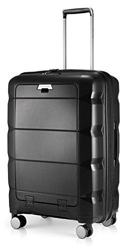 HAUPTSTADTKOFFER - Britz - Hartschalen-Koffer mit Laptopfach Koffer Trolley Rollkoffer Reisekoffer Erweiterbar, TSA, 4 Rollen, 66 cm, 60 Liter, Schwarz