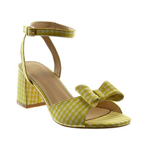 Angkorly Chaussure Mode Sandale Mule Lanière Cheville Femme Vichy Noeud Lanière Talon Haut Bloc 7 cm Jaune