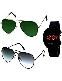 c7b8fc63a2a Younky Combo Of Uv Protected Aviator Sunglasses For Men Women Boys And Girls  With Digital Led