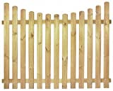 StaketenZaun 'Premium' 180x140/120 cm - unten – kdi / V2A Edelstahl Schrauben verschraubt - aus getrocknetem Holz glatt gehobelt – nach unten gebogene Ausführung - kesseldruckimprägniert