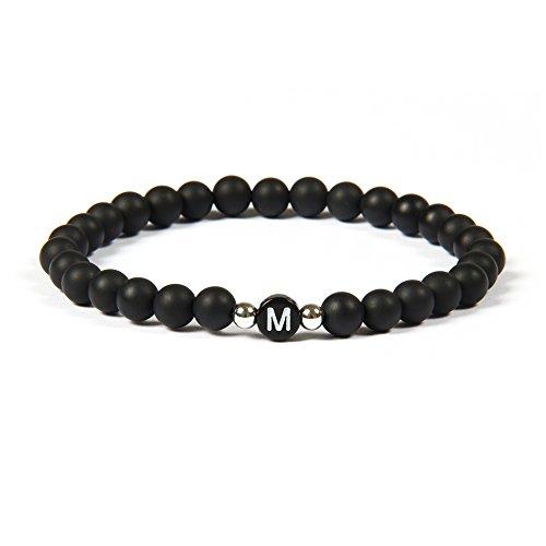 GOOD.designs Namenarmband aus schwarzen Onyxsteinen mit Buchstabenperlen von A-Z , Freundschaftsarmband für deine Liebsten (Buchstabe M)