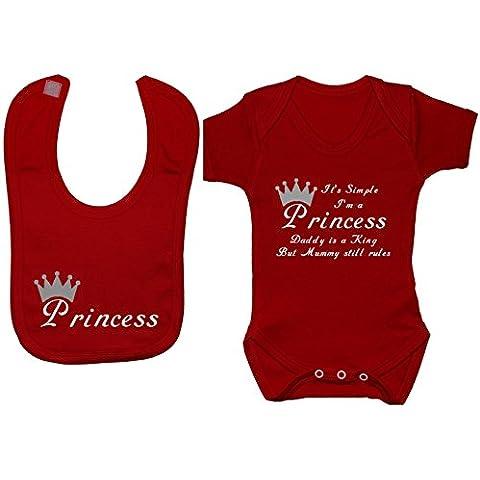 ES FÁCIL DE I 'm una princesa Mummy es una reina & Daddy es Lucky body para bebé/bebé/camiseta con diseño de princesas juego de baberos 0A