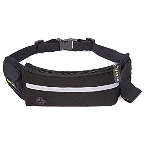 Evecase Running Belt, Waist Pack Money Belt Water-resistant Slim Bag for Men and Women during Travel, Workouts, Cycling, Hiking, Walking, Race, CrossFit, Zumba and Other Outdoor Sports - Black