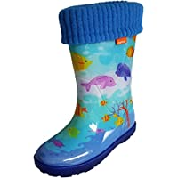 Kids Boys Girls Wellies Rain Boots Warm Fleece-Lined Light Unisex Children Wellington Boots (EU: 28/29, UK: 10/11, OCEAN)