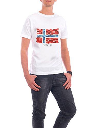 """Design T-Shirt Männer Continental Cotton """"Norway Flag"""" - stylisches Shirt Reise Reise / Länder von GREENGREENDREAMS Weiß"""