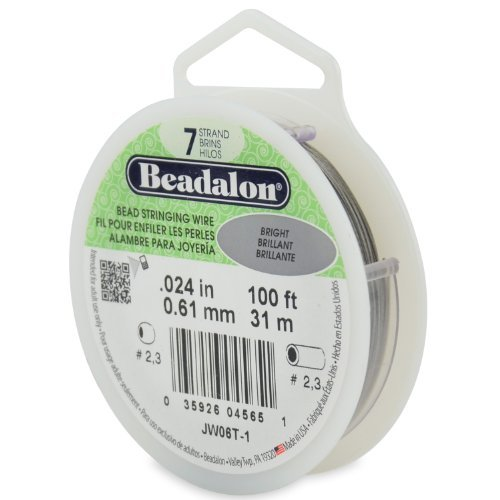 Beadalon 100-Feet 7-Strand Stainless Steel Bead Stringing Wire, 0.024-Inch, Bright by Beadalon