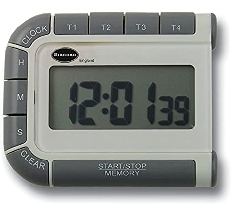 Four Way Countdown Timer & Clock - 24 Hour Count Down & Count Up Kitchen Timer - Large Easy To Read Display