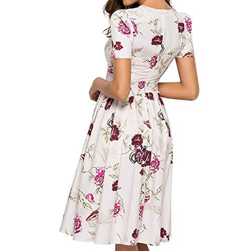 iYmitz Damen Abendkleid mit Blumen Muster Kurzarm Beiläufig Rundausschnitt Minikleid Elegantes A-Linie Vintage Frauen Kleider(Weiß,EU-44/CN-3XL)