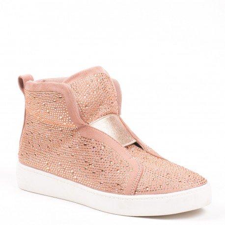 Ideal Shoes - Baskets montantes effet daim et incrustés de strass Adelaide Rose