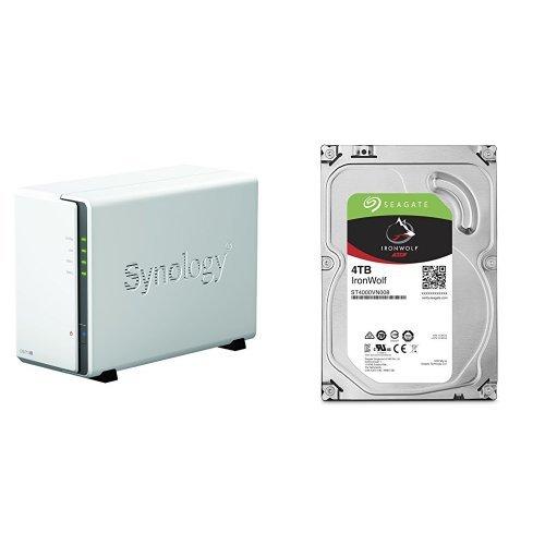 Synology DS216j 2-Bay Desktop NAS-Gehäuse, inklusive 2 x Seagate IronWolf 4 TB, ST4000VN008, interne Festplatte, 8,9 cm (3,5 Zoll), 64 MB Cache, 5900 RPM, SATA 6Gb/s (8 TB)