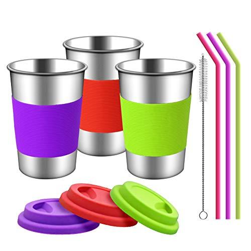 Silikondeckeln, Hülsen und Strohhalmen | 3 Pack 16 Unzen Trinkbecher für Kleinkinder, Kinder und Erwachsene Umweltfreundlich | BPA-frei (Silikon-Strohhalme) ()