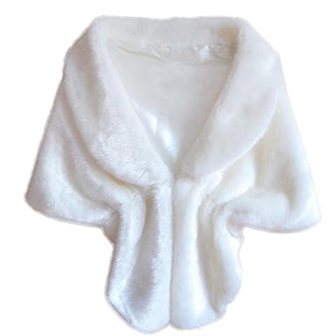 Covermason Elegant Bridal Wedding Party Faux Fur Long Shawl Wrap Shrug Scarf (Cream White)