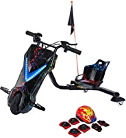 Toy&Joy Drifting Electric Scooter Black with Helmet Pad Set, Knee and Elbow Pads 36V, KD06(