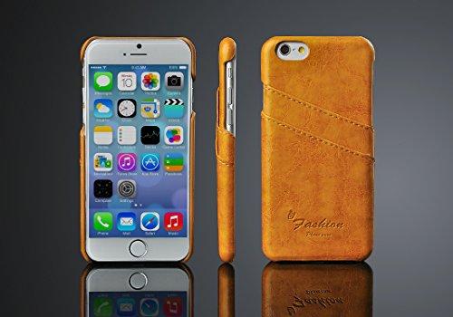 """Phone Case pour Apple iPhone 7Plus 5.5""""Coque avec 2compartiments Carte rigide en cuir synthétique soft touch Housse de protection Cover jaune"""