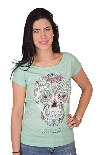 Damen T-Shirts 9015 Baumwolle mit Stylischer Totenkopf in Blau Rosa Pink Grün Tükis (L, Grün)