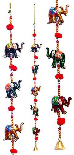 Puerta colgando pintado decorativo Cinco Mano Elefante de cuerdas junto con los...