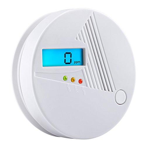 Topop CO Melder, Kohlenmonoxid-Warnmelder mit LED Display, Batteriebetrieber, Kohlenmonoxidmelder, Gaswarner für Haus, Schlafzimmer, Wohnzimmer, Keller, Garage, Hotel, Büro-Wohnmobil