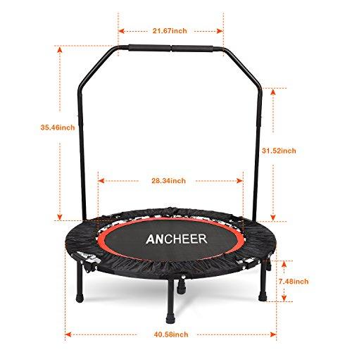 Ancheer Trampolin, Indoor Trampolin mit Handgriffe, Ideal für Fitness Heimtraining (Klappbares Trampolin) - 5