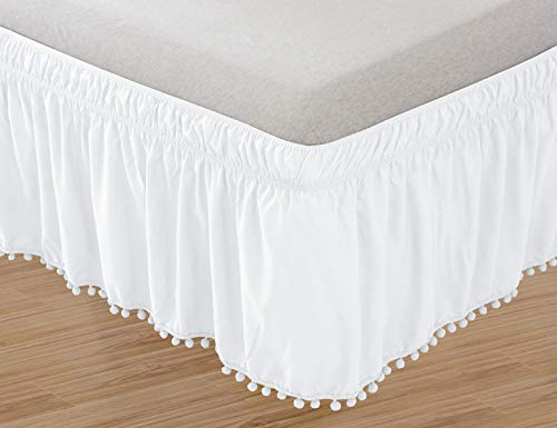 "Elegant Comfort POM-POM-BedSkirt-Queen/King White Top-Knot Tassle Pompom Fringe Ruffle Skirt Around Style Elastic Bed Wrap-Wrinkle Resistant 16"" Drop, Queen/King, White"