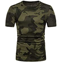 JiaMeng Camiseta de Camuflaje Hombre Militares Camisetas Deporte Camuflaje Informal Estampado O Cuello Pullover Camiseta de