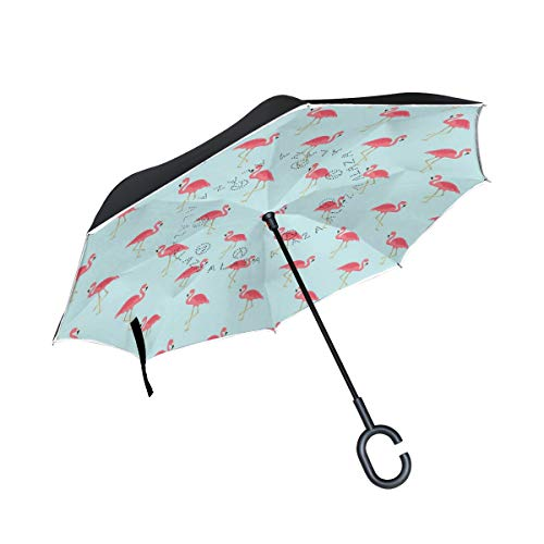 XiangHeFu Double Layer Inverted Reverse Regenschirme Flamingo Bird Pattern Folding Windproof UV-Schutz Big Straight für Auto mit C-förmigen Griff