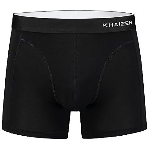 KHAIZEN Men's Boxer Briefs - Eco-Friendly, Breathable, Anti-Bacterial & Moisture Controlling Mens Underwear - Multi Pack Promotion - SUPER SOFT TENCEL FABRIC - Black, Medium