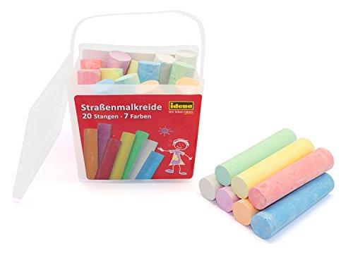 Idena 60042 - Straßenmalkreide in eckiger Box mit Henkel, 20 Stangen in 7 Farben, zum Bemalen von Asphalt, Pflaster oder Beton -