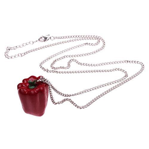 WeAreAwesome Paprika Halskette - ca. 70cm lange Kette - Gemüse Anhänger Pepper Obst Früchte - Pepper Stand