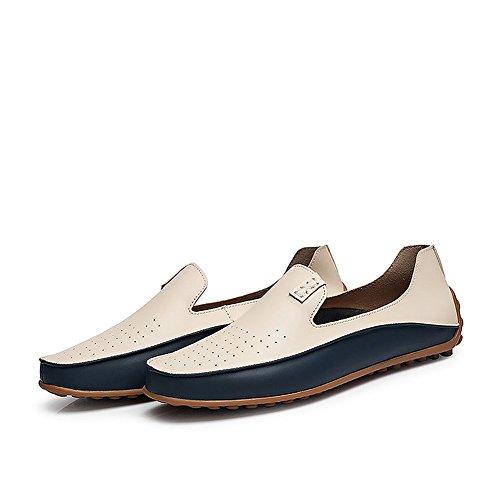 Advogue Hommes Confort Chaussures Plates Loafers en Cuir Chaussures de Conduite Respirant Mocassins Beige