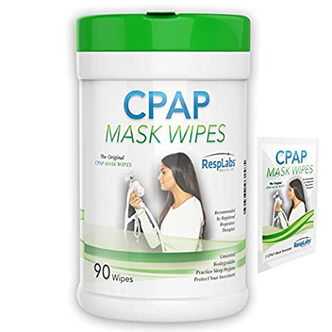 RespLabs Original CPAP Wipes, 90 pack | Unscented, Biodegradable with Natural Formula | The Perfect Wipe for Cleaning and Sanitizing Your CPAP Face Mask. Includes Sample Travel Wipe & Free