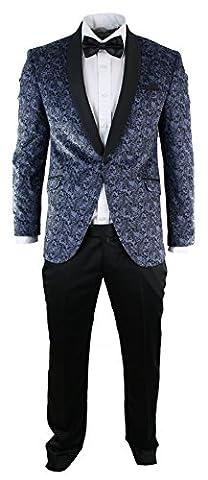 Mens Slim Fit Velvet Paisley Blazer & Trouser Tuxedo Dinner Suit Light Blue Black