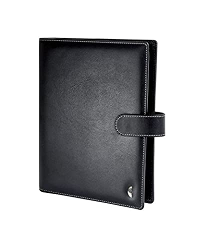 Chronoplan 50107 Organizer Faux Leather Organiser A5 with Holder and Ring Binder – Black
